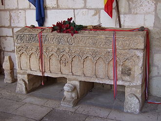 Covarrubias, Province of Burgos - Tomb of the Norwegian Princess in the cloister of the collegiate church.
