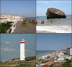 Top left:Gulf of Cadiz and Matalascañas Beach, view from Nutria area, Top right:Rock of Higuera (Torre de la Higuera), Bottom left:Matalascañas Lighthouse, Bottom right:View of Palmito area in Matalascañas Beach