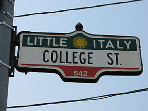 College Street (Toronto) - A typical College street sign in Little Italy, Toronto