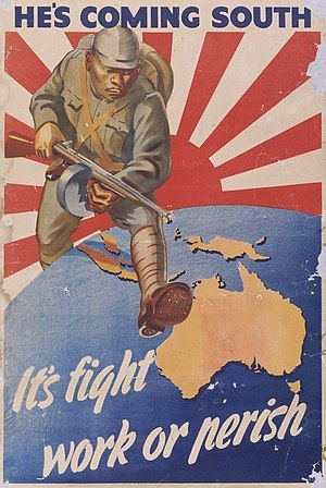Battle for Australia - An Australian propaganda poster released in 1942. The poster was criticised for being alarmist when it was released and was banned by the Queensland government.