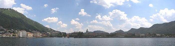 Shoreline of Como from inside Lake Como