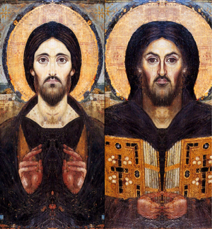 Christ Pantocrator (Sinai) - Mirrored composites of left and right sides of image