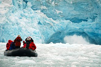 Conservation in the United States - Ecotourists viewing a glacier.
