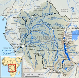 Verlauf und Einzugsgebiet des Kongo bzw. Lualaba