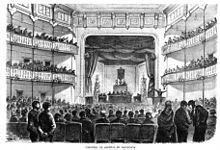 Congreso Obrero de Barcelona de 1870, dibujo de Padró, grabado deCapuz, enLa Ilustración Española y Americana.