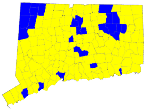 Ned Lamont - Election results by municipality. Blue denotes win for Lamont, yellow for Lieberman.