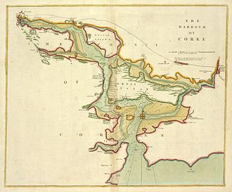 Cork Harbour - Map of Cork Harbour, ca. 1702