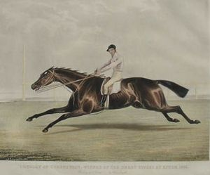 Coronation (British horse) - Coronation and Conolly. 1841 aquatint by Francis Calcraft Turner.