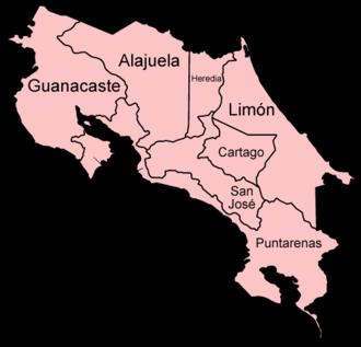 Provinces of Costa Rica - The seven provinces of Costa Rica