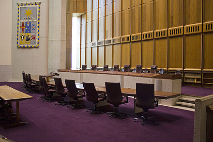 The No. 1 Courtroom, used for all cases that require a full bench of seven justices Court 1 at the High Court of Australia.jpg
