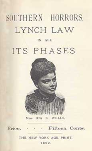 Ida B. Wells - Cover of Southern Horrors: Lynch Law in All Its Phases