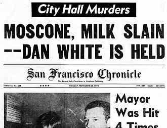 Moscone–Milk assassinations - San Francisco Chronicle's front page for November 28, 1978