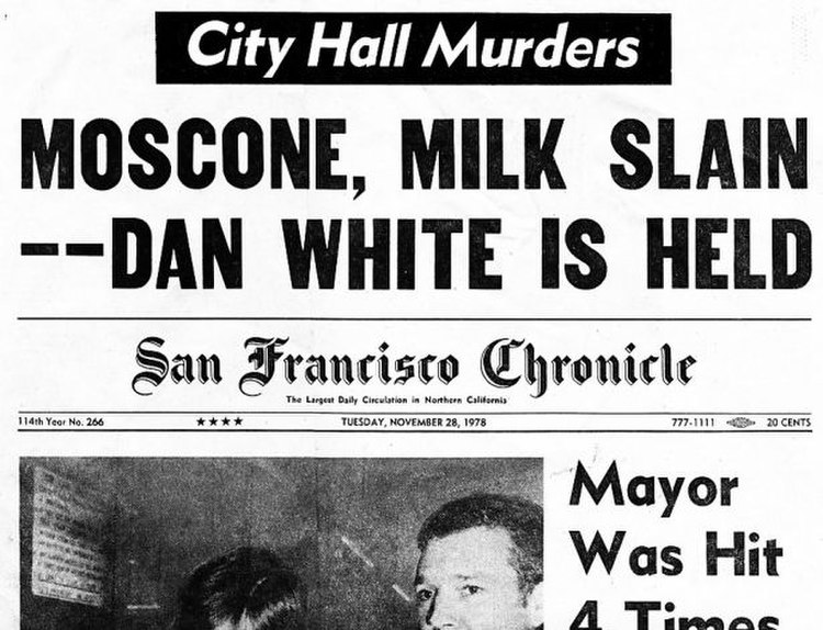 Upper part of the front page of the San Francisco Chronicle on November 28, 1978 - the morning after the double assassination of George Moscone and Harvey Milk