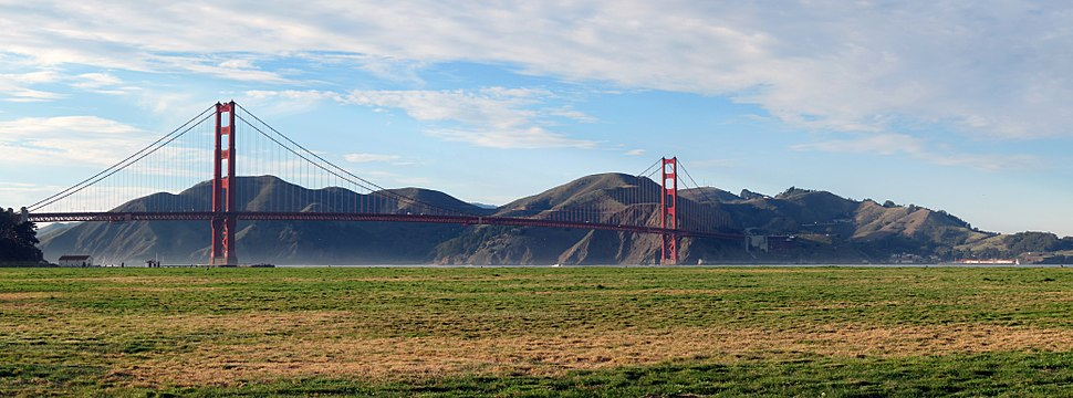 Panoramic image of Crissy Field with the Golden Gate Bridge and the Marin Headlands seen in the background