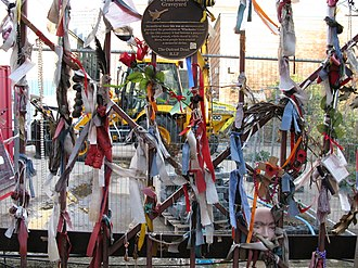 Cross Bones - Cross Bones gates, decorated with messages and tokens