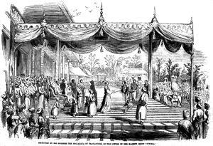 William Cullen (Resident) - A sketch from the Illustrated London News of 1852 showing Cullen carrying a letter from Queen Victoria to the Maharaja of Travancore thanking the latter for his contributions to the Great Exhibition of 1851 which included the gift of a carved ivory chair