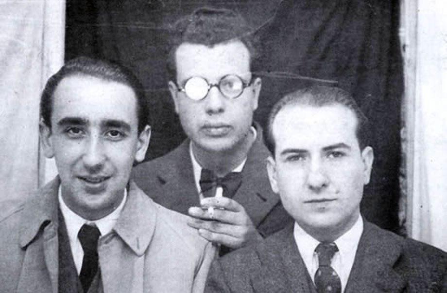 Cunqueiro, Fernández del Riego e Carballo Calero en Santiago de Compostela