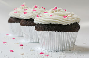 Chocolate cupcakes with sugar hearts and nonpa...