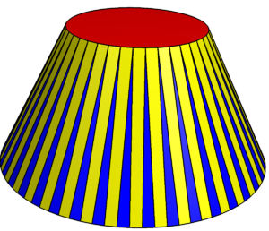 Cupola (geometry) - A 40-sided cupola has 40 isosceles triangles (blue), 40 rectangles (yellow), a top regular 40-gon (red) and a bottom regular 80-gon (hidden).