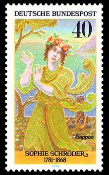 Sophie Schröder als Sappho Briefmarke 1976 (Quelle: Wikimedia)