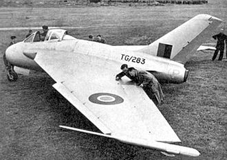 Swept wing - The de Havilland DH 108, a prototype swept-wing aircraft, produced in 1944.
