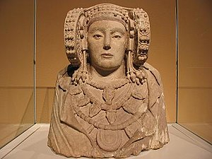 Iberians - The Lady of Elx, 4th century BC, polychrome stone bust from L'Alcúdia, Elche, Spain