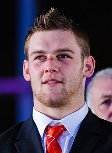 Dan Lydiate at Wales Grand Slam Celebration, 19 March 2012.jpg