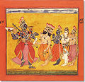 Dancing Bhadrakali, adored by the Gods. Basohli. India.1660-70.jpg