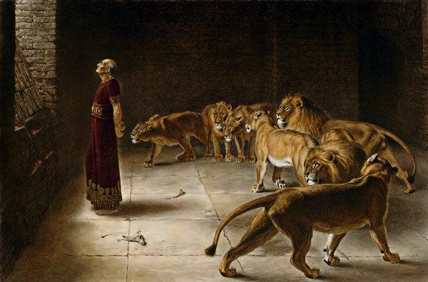 Daniel dans la fosse aux lions, peint par Briton Rivière en 1890.