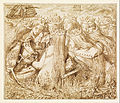 Dante Gabriel Rossetti - Design for Moxon's Tennyson - King Arthur and the Weeping Queens - Google Art Project.jpg