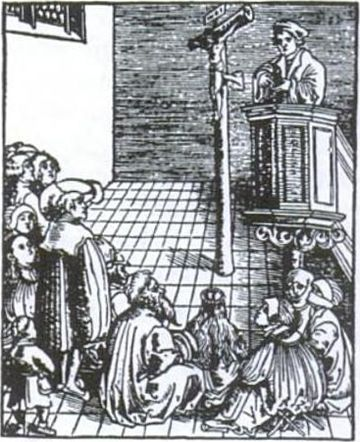 Hallowed be Thy Name by Lucas Cranach the Elder illustrates a Lutheran pastor preaching Christ crucified. During the Reformation and afterwards, many churches did not have pews, so people would stand or sit on the floor. The elderly might be given a chair or stool. Das Vaterunser 2 Lucas Cranach d A.jpg
