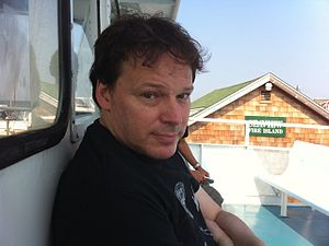 English: David Graeber on a boat at Fire Island.