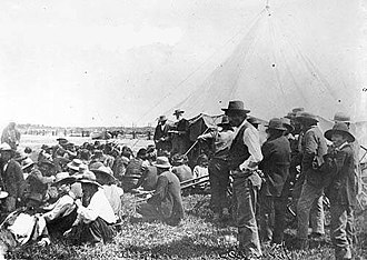 Treaty 8 - Image: David Laird explaining Treaty 8 Fort Vermilion 1899 NA 949 34
