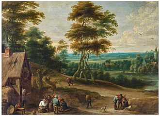 Lucas van Uden - Villagers having a meal