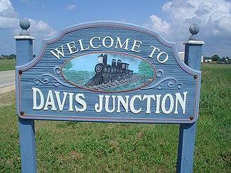 Davis Junction, Illinois - Sign leading into the west side of the village