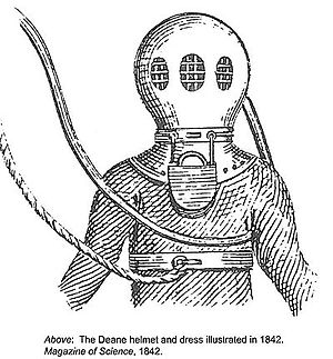 Surface-supplied diving - 1842 sketch of the Deane brothers' diving helmet, the first surface-supplied diving dress equipment in the world.