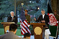 Defense.gov News Photo 110604-D-XH843-031 - Secretary of Defense Robert M. Gates and President of Afghanistan Hamid Karzai conduct a press conference in Kabul, Afghanistan, on June 4, 2011.jpg