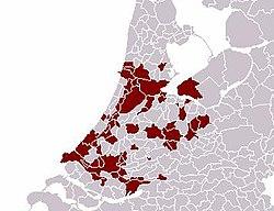 Conurba��o de Randstad, nos Pa�ses Baixos. Esta se estende de Amsterdam a Roterdam.