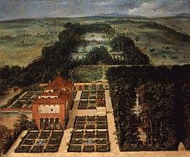 paisaje de la casa de campo de flix castello museo de historia de madrid puede verse el palacio de los vargas con sus jardines