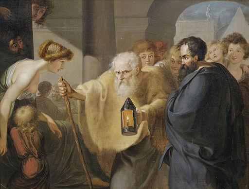 Diogenes mit der Lampe auf Menschensuche deutsch 17 Jh