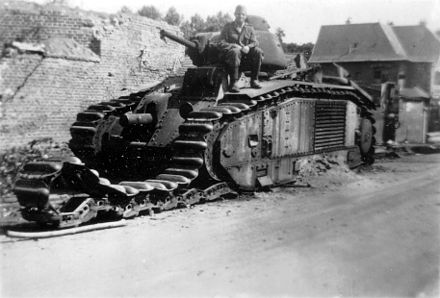 A Char B1 infantry tank in 1940 in Northern France Disabled Char B1 1940.jpg