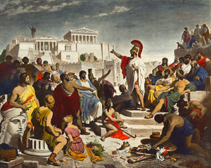Athenian democracy - Nineteenth-century painting by Philipp Foltz depicting the Athenian politician Pericles delivering his famous funeral oration in front of the Assembly