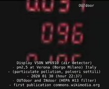 File:Display VSON WP6910 (air detector) - pm2,5 at Verona (Borgo Milano) Italy - (particulate pollution, polveri sottili) - 2020 01 30 (hour 22-37) - OUTdoor and INdoor (HEPA H13 filter) - first publication commons.wikimedia.org.webm