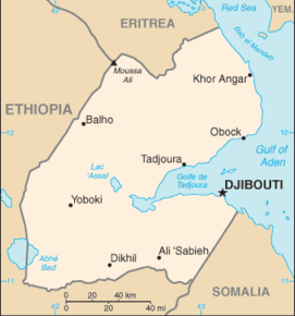 Kart over Republikken Djibouti