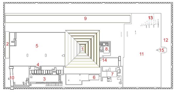 Coser ehramının planı  (Şimalı sağdadır) (Cecil M. Firth görə)