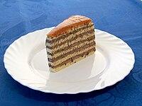 A slice of Dobos Cake