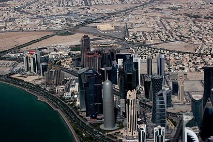 Doha's Al Dafna area with the high-rises seen on the water front and the villa compounds and other residential areas seen in the background Doha - panoramio (3).jpg