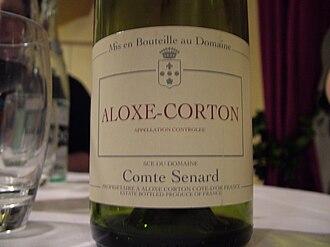 Aloxe-Corton wine - A bottle of Aloxe-Corton wine.