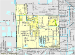 U.S. Census Bureau map showing the former CDP limits