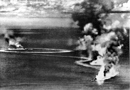 British heavy cruisers Dorsetshire and Cornwall under Japanese air attack and heavily damaged on 5 April 1942